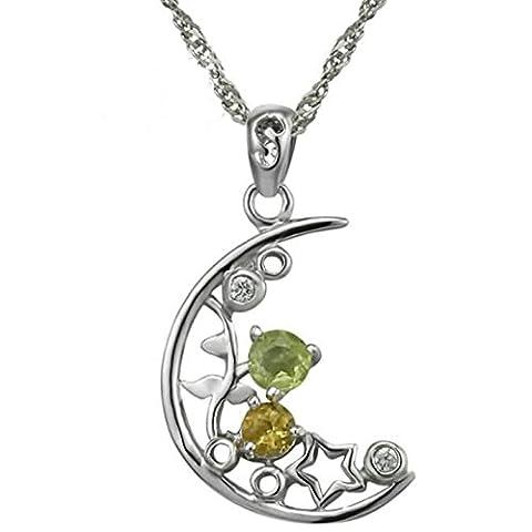 Epinki 925 Sterling Silber Damen Halskette, Halbmond Stern Form Anhänger Statementkette Poliert Silberkette Silber 1.46x2.28 CM mit Zirkonia