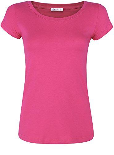 oodji Ultra Mujer Camiseta Básica de Algodón, Rosa, ES 34 / XXS