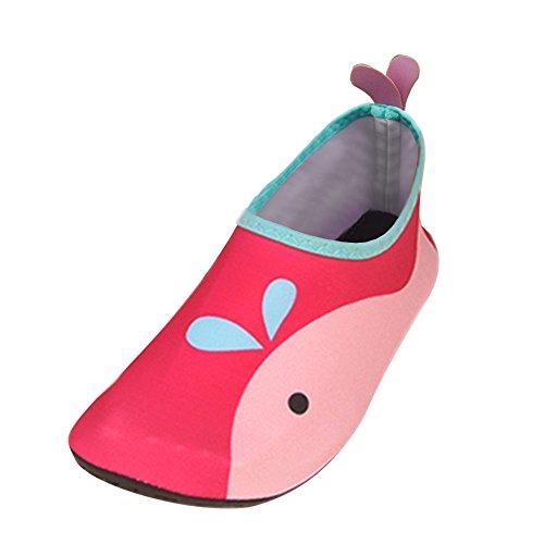 JACKSHIBO Unisex-Kinder Wasserschuhe Jungen Strandschuhe Aqua Schuhe Mädchen Schwimmschuhe Surfschuhe Badeschuhe, Kinder XS(EU 24-25)=140-150MM, Farbe: Rosa (Rutschfeste Schuhe Kinder)
