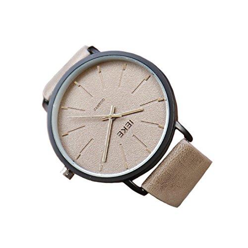 Montre à quartz de bracelet en cuir de style concis des hommes avec 30m imperméable (Marron clair)