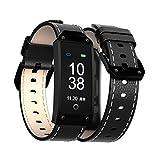 Wj Reloj De Pulsera Inteligente con Bluetooth, Podómetro De Calorías, Sensor De Ritmo Cardíaco Fitness Tracker, Brazalete Sport Smartband para Android iOS, IP67 Impermeable, Marrón,Black