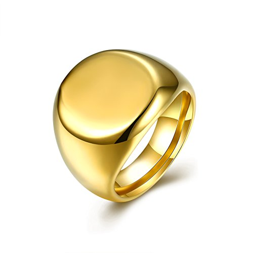 LALOPEZ Fashion Jewelry Men's Stainless Steel Rings Gold Signet Polished Tatanium
