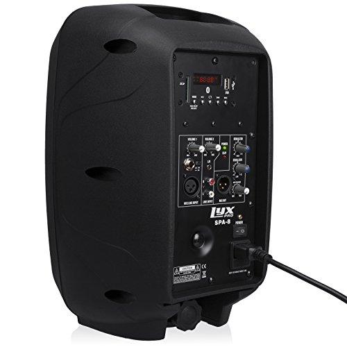 "LyxPro SPA-8 Tragbare PA-Anlage, 100 W RMS Aktivlautsprecher, Integrierter Equalizer, Bluetooth, SD-Kartenschacht, USB, MP3, XLR, 1/4"", 3.5 mm AUX-Eingang"