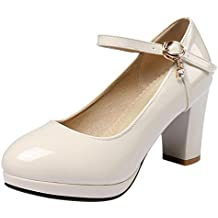 JOJONUNU Mujer Moda Thick Heel Zapatos de Tacon