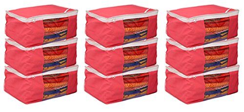 Kuber Industries™ Non woven Saree cover Bag Set of 9 Pcs /Wardrobe Organiser/Regular Clothes Bag Pink-19179