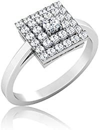 IskiUski White Gold And American Diamond Ring For Women - B075VH9QBM