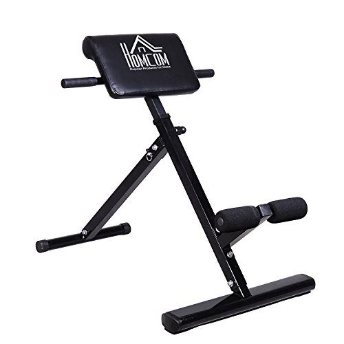 41CXf9t7dcL - BEST BUY #1 Homcom Hyper Extension Machine Fitness Bench Heavy Duty Steel Adjustable Back Extension Abs Abdominal Bench- 45 Degrees - Black Reviews and price compare uk