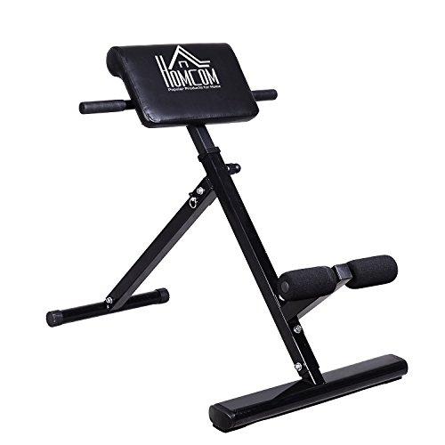 Panca per l'allenamento dei dorsali, l'allungamento della schiena, l'allenamento degli addominali, ripiegabile, nero