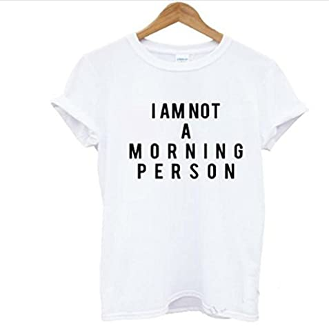 """JOTHIN Femme Coton T-shirts Manches Courtes été en Col Rond Slogan """"I am not amorning person""""Top/Blouse (XL,"""