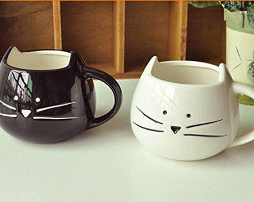 2 pz tasse chat noir et blanc,Mug café et lait de noël et de cadeau d'anniversaire à verre céramique verre 300 ml- cat coupe (chat/FR)