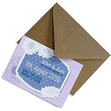 Set de 12+ placa personalizable de ahorrar la fecha imanes con sobres–Daisy 65x 95mm, Morado, 36 Magnets
