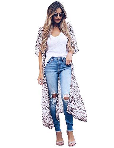 Zexxxy Damen Langarm Floral Strand vertuscht Sommer Kimono Cardigans für Frauen Leopard L Leopard Cover