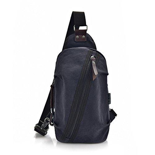 BULAGE Tasche Baumwolle Leinen Männer Mode Multifunktions Schulter Natur Reisen Reiten Wanderungen Camping Wandern Blueblack