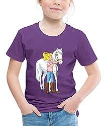 Bibi Und Tina Bibi Mit Stute Sabrina Kinder Premium T-Shirt, 122/128 (6 Jahre), Lila