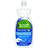 Natural Dishwashing Liquid, Free & Clear, 25 oz. Bottle, Sold as 1 Each