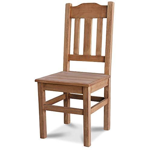 Kuechenstuhl (HSL-02) Holzstuhl Esszimmerstuhl Stuhl mit Lehne Kiefer massiv vollholz zusammengebaut Verschiedene Farbvarianten Neu (Eiche lasiert)