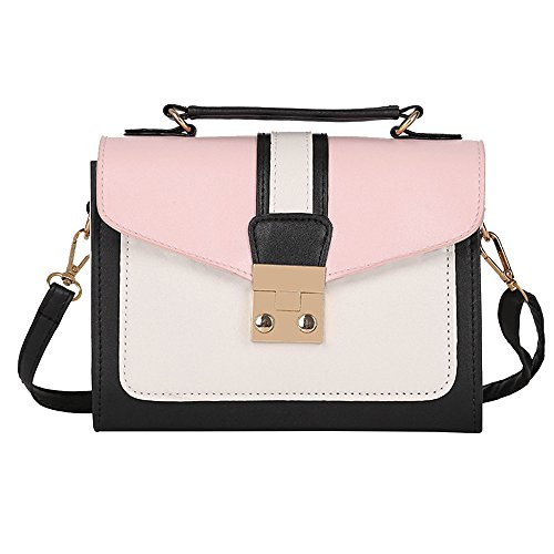 Rawdah Fashion Women Hit Color mosaic leather Shoulder Bag Messenger Satchel Tote Crossbody Bag Black Pink Gray Large Sale Leather School Small Men Levis Waterproof Superdry (Pink)