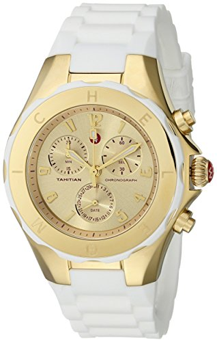 Michele Women's 40mm White Silicone Band Steel Case Quartz Gold-Tone Dial Chronograph Watch MWW12F000031