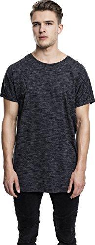 Urban Classics TB1769 Herren T-Shirt Long Space DY Turn Up Tee - Melange Kurzarm Longshirt für Männer mit Rundhals-Ausschnitt und Abgerundetem Saum - Farbe Blk/Wht, Größe XL (Wht Xl-t-shirt)