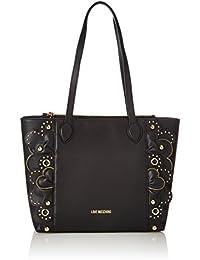 Love Moschino - Borsa Vitello Smooth Nero, Bolsos totes Mujer, Negro (Black), 10x28x42 cm (B x H T)