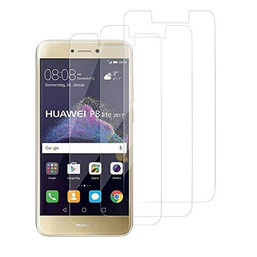 GEMYON Verre Trempé Huawei P8 Lite 2017 [3 Pièces] Protection Ecran Film Anti-Rayures Protecteur Vitre pour Huawei P8 Lite 2017 - [5D/9H Dureté] - Transparent