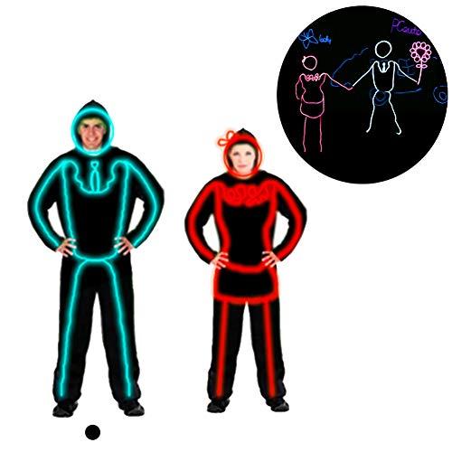 DHTW&R Paar gekleidet Männlich Glühende Kleidung Fluoreszierender Tanz Show Kostüm EL Kaltlicht Batteriebetrieben Beleuchtet Strichmännchen Mann Kostümparty (Tanz Show Kostüme)