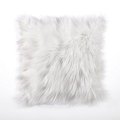 Dreamaker Weicher Kunstfell Fleece Kissenbezug Kissenbezüge Kissen Sham 45,7x 45,7cm Set von 2 weiß (Kissen Schwarz Sham)