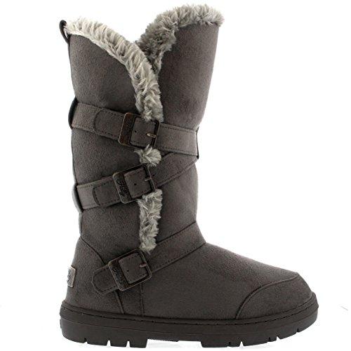 Damen Schuhe Triplet Schnalle Fell Schnee Regen Stiefel Winter Fur Boots - Grau - 39 - AEA0223