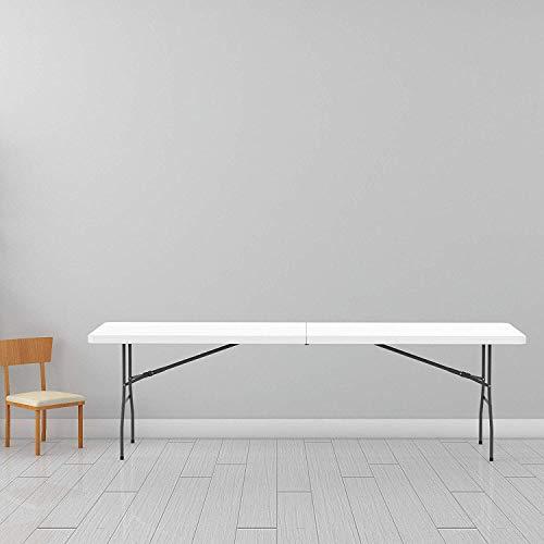 Leogreen - Klappbarer Tisch , Campingtisch, 240 x 76 cm, Weiß, In der Mitte klappbar, Material: HDPE, Klappmaß: 121 x 76 x 9,5 cm