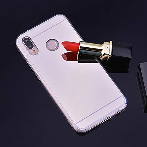 Sycode für Huawei P20 Lite Spiegel Hülle,für Huawei P20 Lite Handyhülle,Mirror Spiegel Mirror Handy Tasche Bumper Schutzhülle für Huawei P20 Lite-Silber