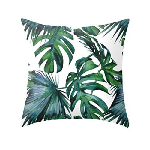 Winkey  Kissenbezüge, Tropische Pflanzen Polyester Kissenbezug Sofa Wurfauflage Set Dekoration - Blätter Teppich