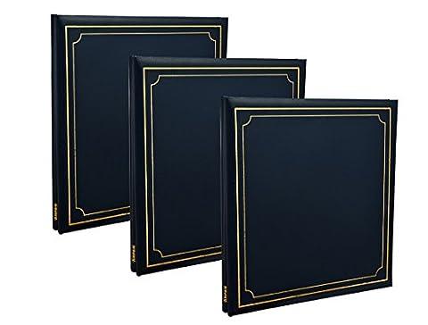 3X Arpan Album photo auto-adhésif 32x 26cm autoadhésifs Feuilles de 72/144/côtés Aspect cuir rembourré Coque Post Bound, bleu, 33 x 3 x 33 cm Approx