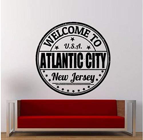 Lvabc Willkommen In Atlantic CityStempel Wandaufkleber Für Wohnzimmer Kunst Dekoration Home Decor Vinyl Wandtattoos Schlafzimmer Wandbilder 56X56 Cm