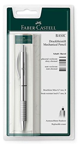 Faber-Castell138478 - Druckbleistift BASIC Metall, Minenstärke 0.7 mm, in silber matt oder silber glänzend erhältlich, keine Auswahl möglich