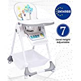 R for Rabbit Marshmallow 7 Levels Smart Feeding Table High Chair for New Born Baby Kids Toddlers from 0 to 5 Years with Multiple Recline Position and Study Table & Booster Chair(Grey)