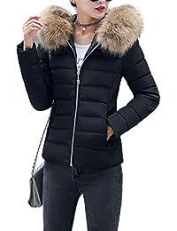Fanessy Manteau Femme Hiver Doudoune Femme Court à la Mode avec Capuche en  Fourrure Mince Garder 2385c560d5c