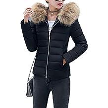 0086bfbae3e Fanessy Manteau Femme Hiver Doudoune Femme Court à la Mode avec Capuche en  Fourrure Mince Garder