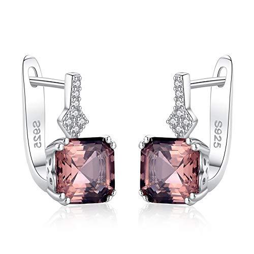 YJHYYY Ohrring Ohrringe 925 Sterling Silber Ohrstecker Rauch Farbe oder Weiß Silber EdelsteinOhrring Edlen Schmuck für Frauen, Klar