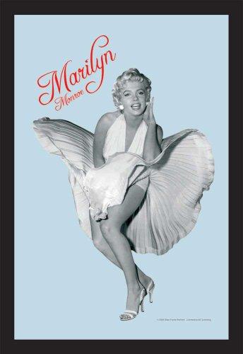 empireposter Marilyn Monroe Weißes Kleid 2 - Bedruckter Spiegel mit Kunststoff Rahmen in Holzoptik, Kult-Spiegel - Grösse 20x30 cm