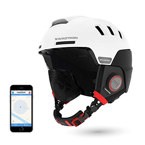 SWAGTRON Skihelme Rs1 mit Intercom, Snowboardhelm Wireless Bluetooth Headset Anrufe bearbeiten Hands Free ausgestattet SOS-Alert (Weiß)