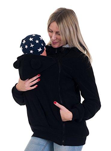 Divita Tragejacke mit süssen Bärchen Ohren für Tragetuch Babytrage Fleece für Baby und Mama 05 (44/XXL, Schwarz)