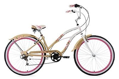 KS Cycling Damen Beachcruiser Cherry Blossom Fahrrad, Weiß/Gold, 26 Zoll