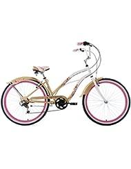 KS Cycling Damen Beachcruiser Cherry Blossom Weiß-Gold Fahrrad, Weiß/Gold, 26 Zoll
