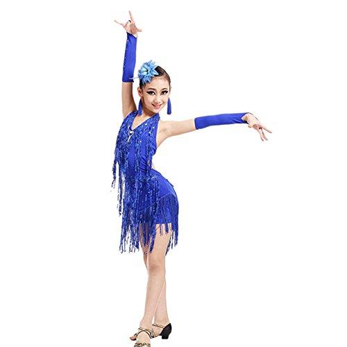 Kostüm Kleinkind Zirkusdirektor - Lazzboy Kostüme Dance Kleinkind Kinder Mädchen Latein Ballett Kleid Quaste (Höhe130,Blau)