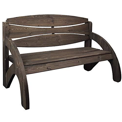 SunDeluxe Gartenbank Jorn in Anthrazit/Cherry 140cm - 3-Sitzer Sitzbank aus massivem Kiefernholz - Premium Design Holzbank mit ergonomischen Armlehnen