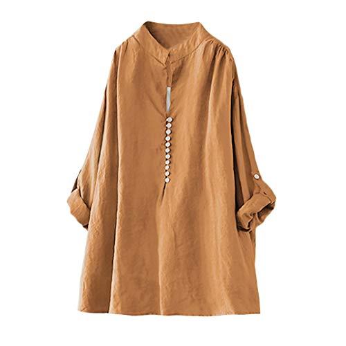 Zegeey Damen T-Shirt Kurzarm V-Ausschnitt Baumwolle Leinen Sommer Casual Tops Bluse Oberteil Hemd Mit Tasche LäSsige Lose Weiß Pink Navy(A7-Orange,EU-40/CN-L)