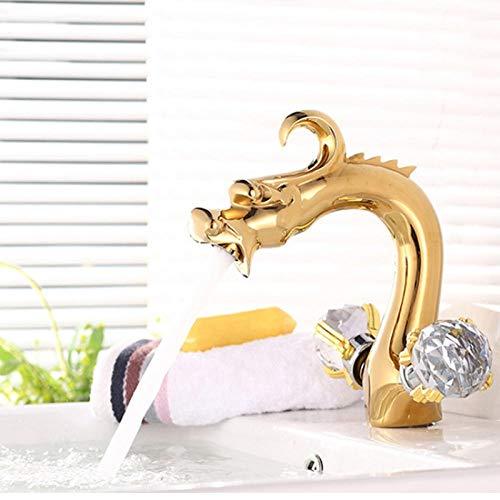 CZOOR Antike Vergoldung Dragon Design Becken Wasserhahn Luxus Dekorative Kristall Bad Dual Griff Armaturen Mixer Wasserhahn SE-8613 (Delta Bad Armatur Gebürstet)