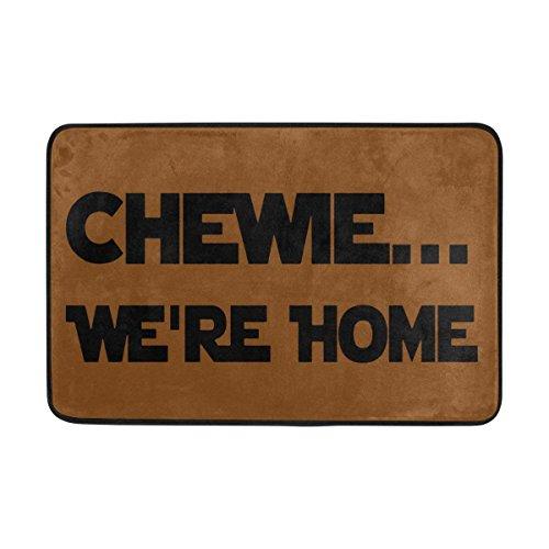 Fluff Trim (longkouishilong Fußmatten Entrance Doormat Chewie We're Home Indoor Outdoor Door Mat Non-Slip Doormat 23.6 by 15.7 Inch Machine Washable Polyester Fabric)