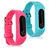kwmobile 2in1: 2x Cinturino sostitutivo per Xiaomi Mi Band 2 - Bracciale fitness per smartwatch in...