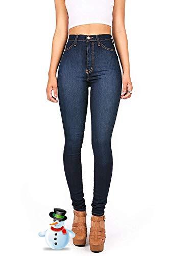 Hooleeger Damen Stretch High Waist Jeans Regular Fit Basic Jeanshose (S, Dunkelblau)